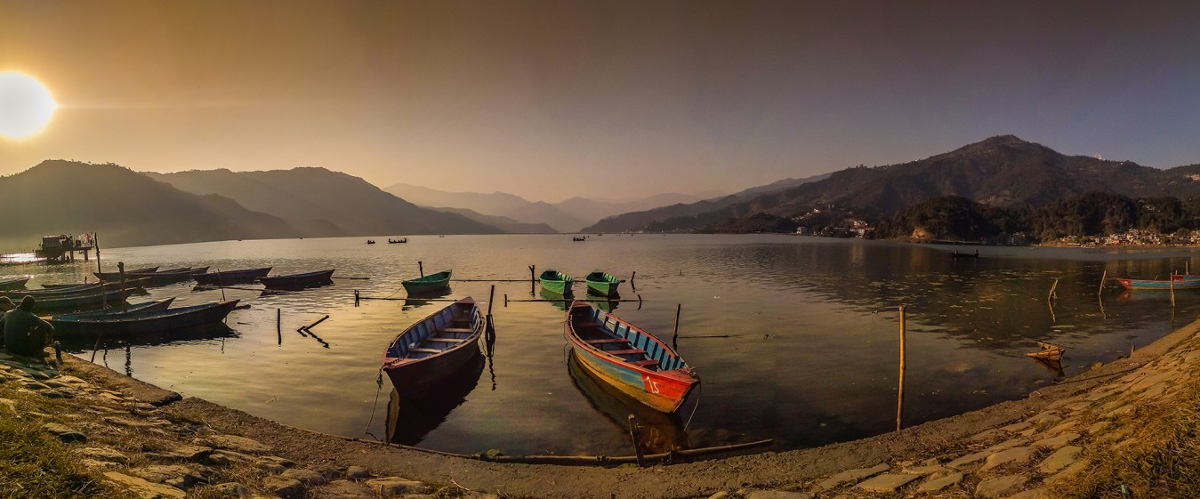 Boats at Phewa Lake, Pokhara