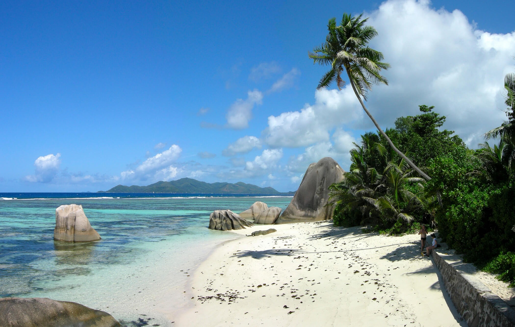 Pristine white sandy beaches of the Seychelles
