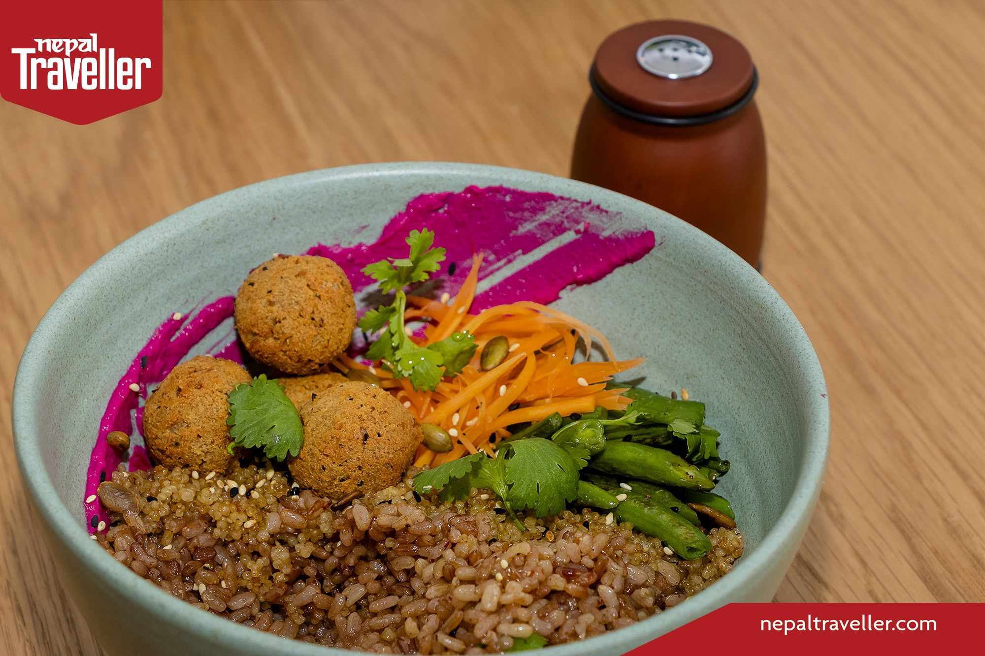 Spiced Red Rice Bowl with Fermented Veggies and Tofu Ball